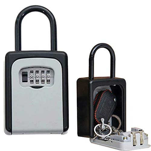 4-Digit Portable Travel Safe Security Keys Storage Box Holder Hanging Combination Lock Lock Box for House Key Code Key Box