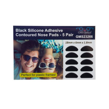 GMS Optical Half Moon Shaped Contour Silicone Nose Pads 1.8mm x 18mm Black (5