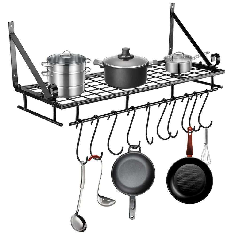 Tbest Metal Hanging Pan Pot Rack Wall Mounted With 10 Hook Holder