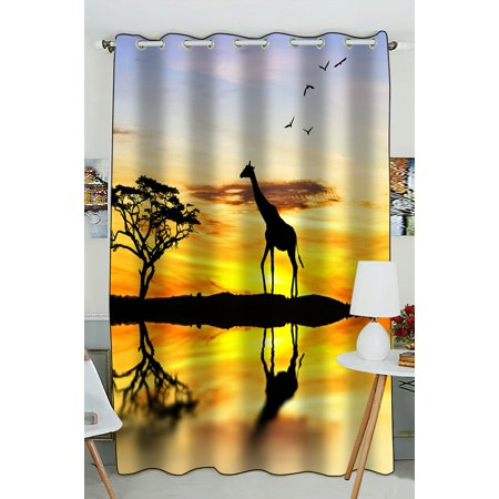 PHFZK Nature Landscape with Beautiful Sunset Window Curtain, Wild Animal Giraffe Tree Shadows Window Curtain Blackout Curtain For Bedroom living Room Kitchen Room 52x84 inches One Piece
