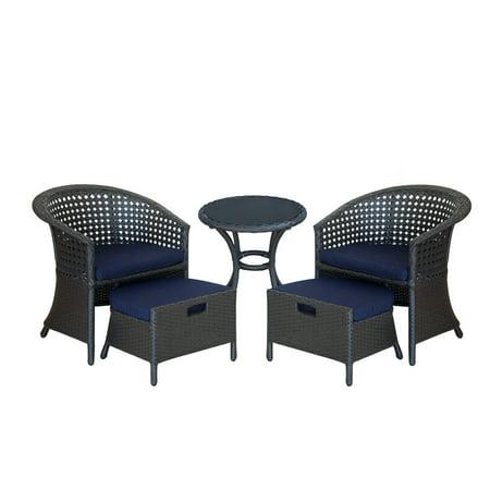 ORNO TTOBE 5 Piece Outdoor Wicker Patio Furniture Conversation Sets with Sunbrella Cushion 2 chairs ()