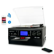 Bluetooth Record Player Turntable , LP Vinyl to MP3 Converter with CD, Cassette, Radio, Aux in and USB/SD Encoding, Remote Control