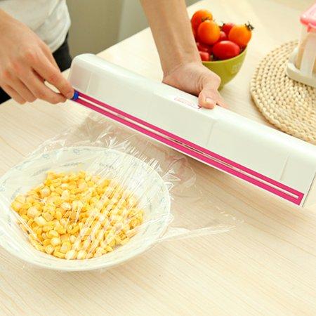 Jeobest Home Kitchen Plastic Small Film Wrap Cling Dispenser Food Storage Holder Cutter