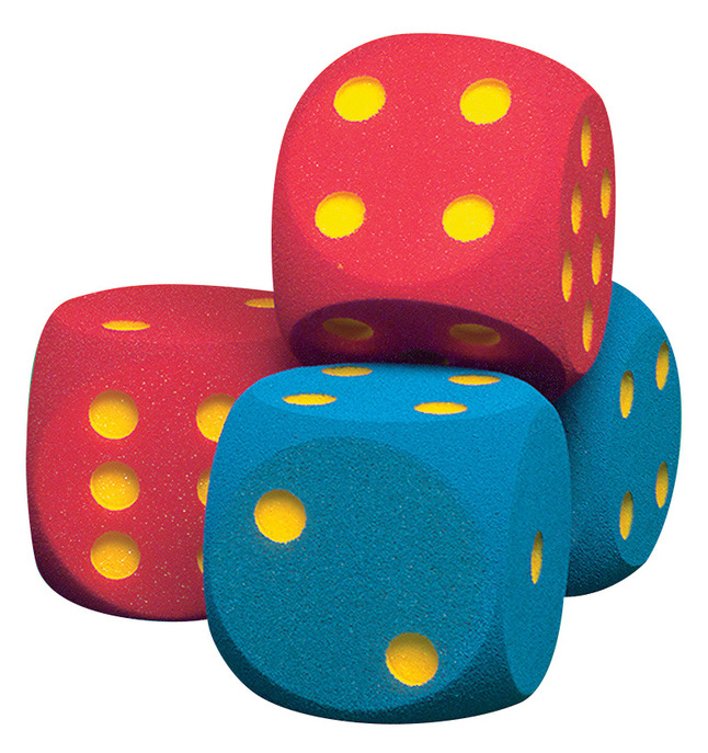 Volley 6-1/4 Inch Foam Coated Giant Dice, Set of 2, Blue
