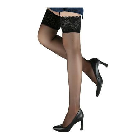 Ladies Sexy Garter Belt Sheer Thigh High Stockings Socks Black