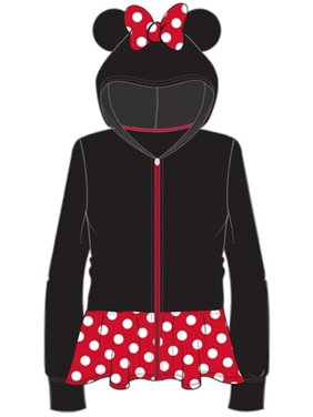 Disney Youth Girls Minnie Ears Dress Up Zipper Hoodie, Black Red M