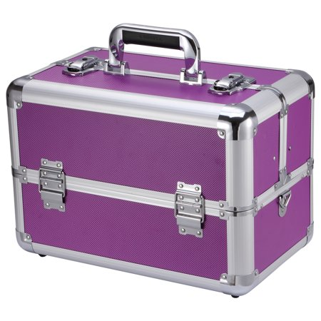 "Image of Allieroo Aluminum 14"" Make up Train Case Professional Large Make Up Artist Organizer Kit Shoulder Bag With Adjustable Dividers Key Lock Cosmetic Studio Box Designed Purple"