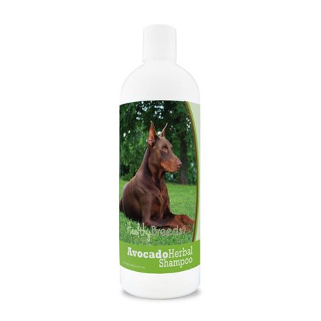healthy breeds herbal avocado dog shampoo for dry itchy skin for doberman pinscher, brown  - over 200 breeds - for dogs with allergies or sensitive skin - 16