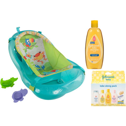 Fisher-Price Rainforest Friends Tub with Johnson's Baby Shampoo and Take Along Pack Value Bundle