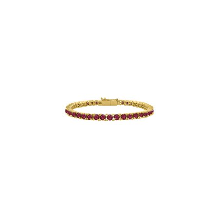 Created Ruby Tennis Bracelet in 18K Yellow Gold Vermeil. 7CT. TGW. 7 Inch - image 2 of 2