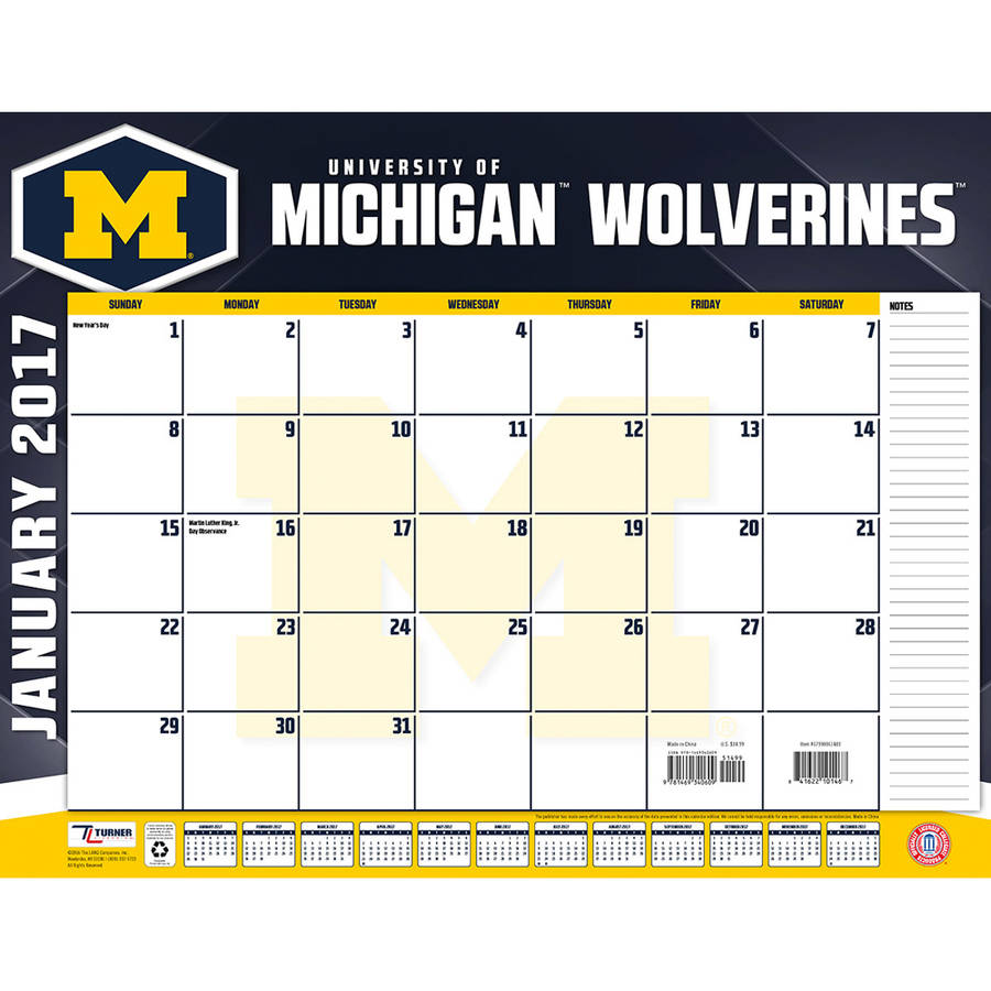 Turner Sports 2017 22 Quot X 17 Quot Desk Calendar Michigan