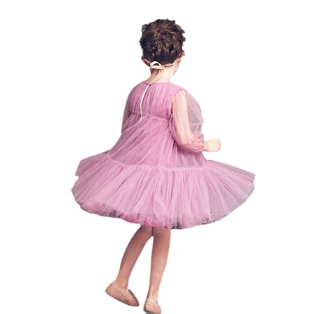 Long Sleeve Communion Dress (Girls Pink Tulle Tea Length Flower Girl Baptism Communion Recital Easter Birthday Dress with Long Sleeves, Pink,)
