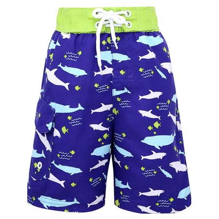 Kids' Fast Drying Summer Swim Trunks w/UPF 50+ Sun Protection, Shark](Shark Shorts)