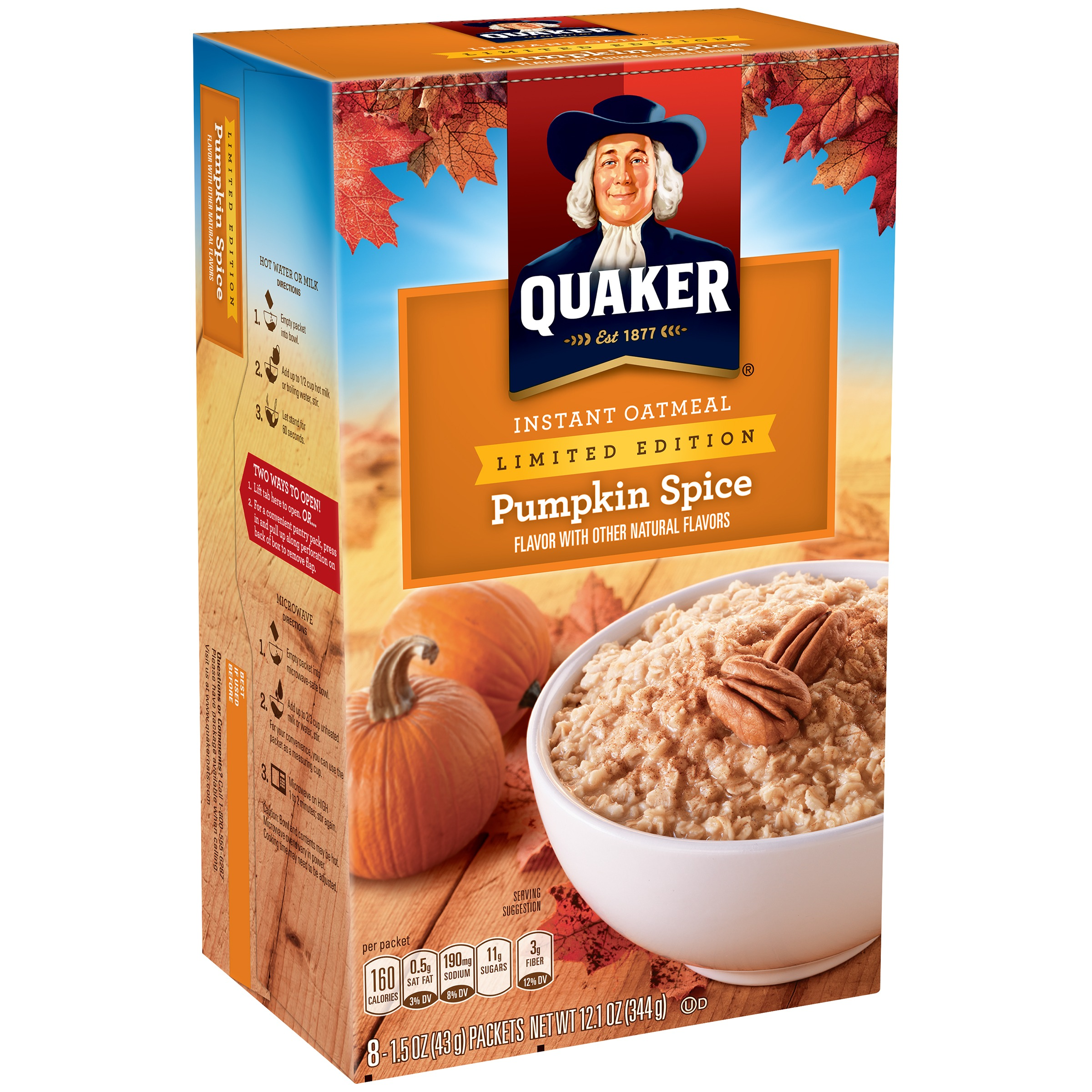 Quaker Pumpkin Spice Instant Oatmeal 151 Oz Packets 8 Count
