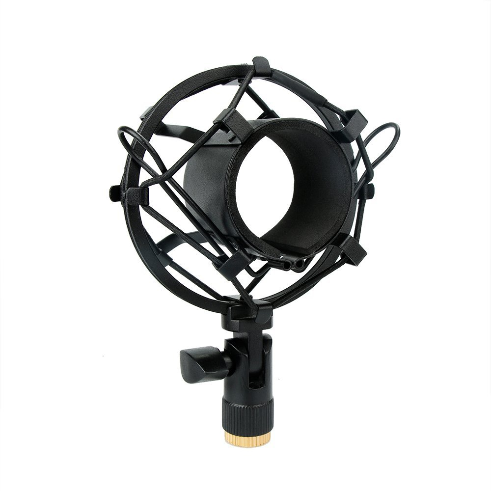Black Universal Microphone Shock Mount Anti-Vibration Mic Holder for Studio Condenser Mic by