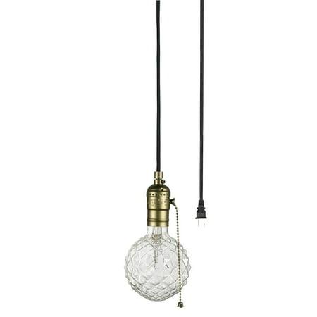 - Globe Electric Edison 1-Light Matte Bronze and Black Plug-In Mini Pendant, 65446