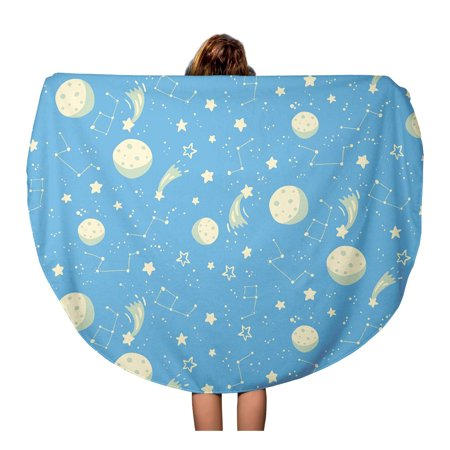 JSDART 60 inch Round Beach Towel Blanket Astronomy Space Pattern Moons Stars and Constellations Cartoon Celestial Travel Circle Circular Towels Mat Tapestry Beach Throw - image 1 de 2