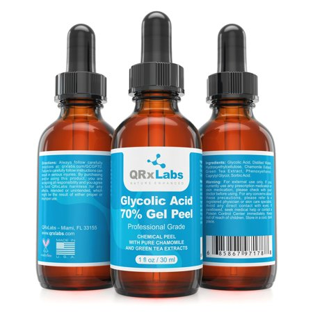 Glycolic Acid 70% Gel Peel with Chamomile and Green Tea Extracts - Professional Grade Chemical Face Peel for Acne Scars, Collagen Boost, Wrinkles, Fine Lines - Alpha Hydroxy Acid - 1 fl oz
