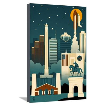 Houston, Texas - Retro Skyline (no text) Stretched Canvas Print Wall Art By Lantern Press