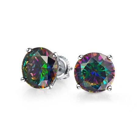 4CT Round Black Mystic Rainbow Cubic Zirconia Solitaire CZ Stud Earrings For Women 925 Sterling Silver Screw Back 10MM
