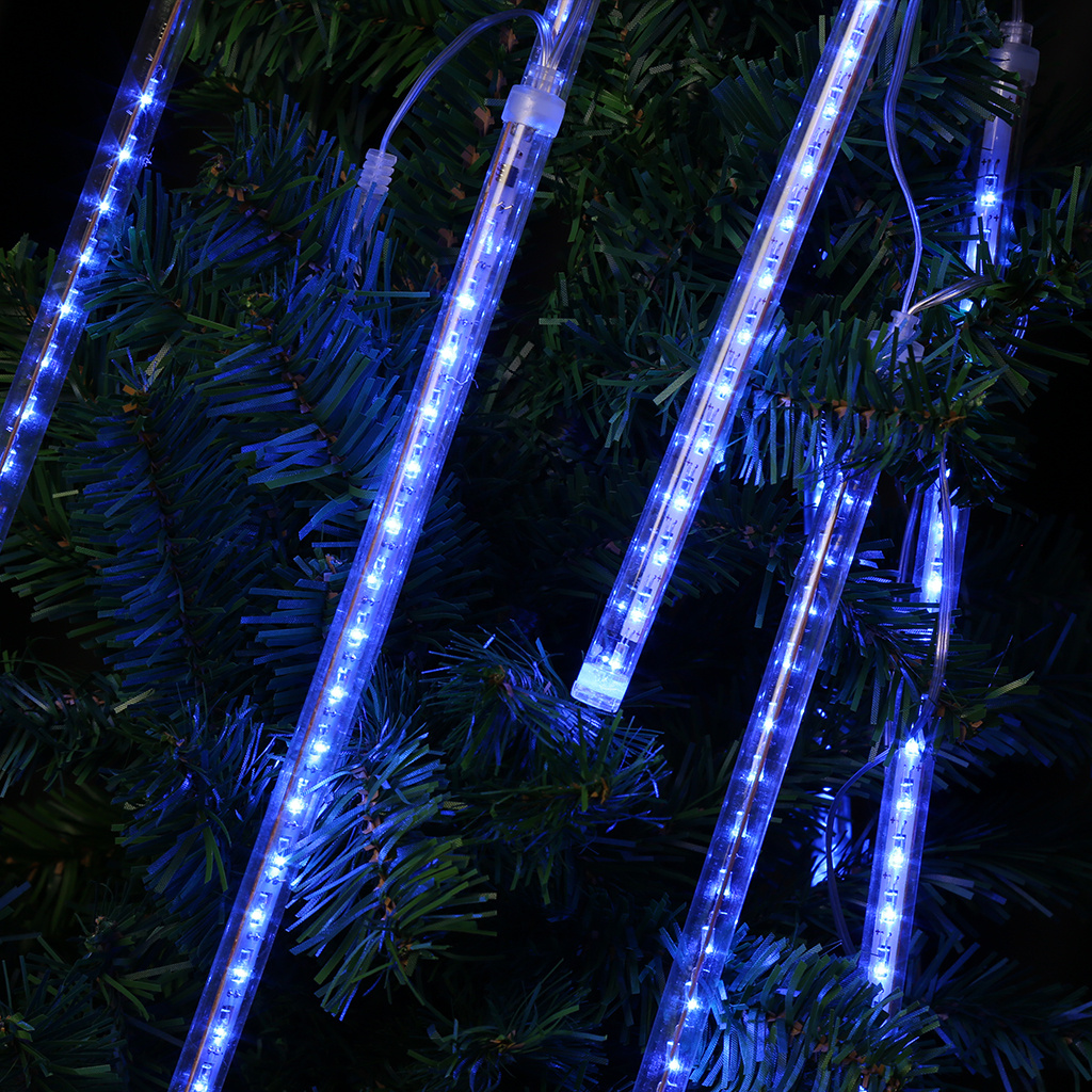Finether 13.1 ft 8 Tube 144 LED Meteor Shower Rain Snowfall Plug-In String Lights for Indoor Outdoor Decoration