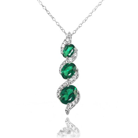 - Simulated Emerald and White Topaz Sterling Silver Oval S Design Three-Stone Journey Necklace
