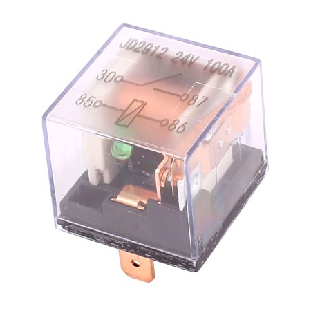 JD1912 24V 100A 4 Pin SPDT Power Relay w  Light Colorless Shell