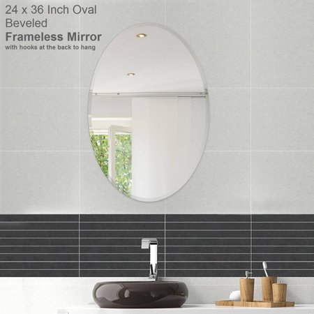 22 X 30 Oval Beveled Polish Frameless Wall Mirror With Hooks