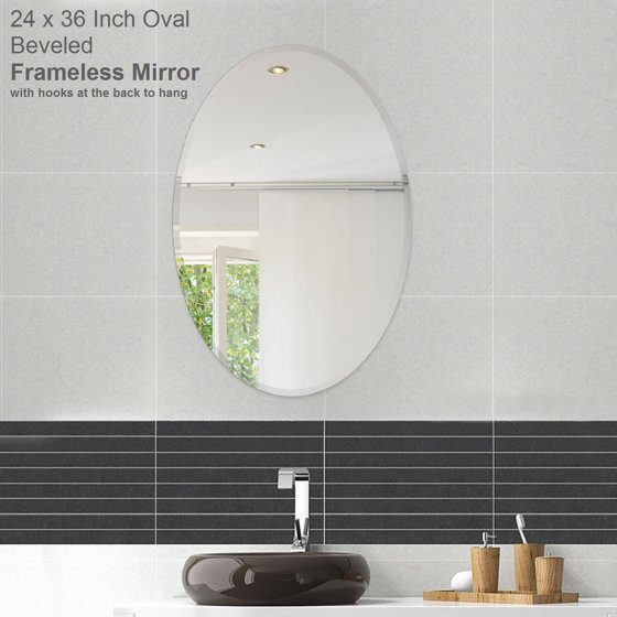 22 x 30 oval beveled polish frameless wall mirror with for 4 x 5 wall mirror