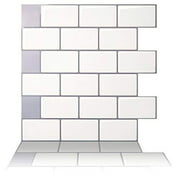 "Tic Tac Tiles - Premium Anti-Mold Peel and Stick Wall Tile Backsplash in 12""x12"" Subway Mono White (5 Tile Sheets)"