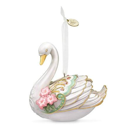 Hallmark Keepsake Christmas Ornament 2018 Year Dated Stunning Swan, Porcelain Booties Porcelain Keepsake