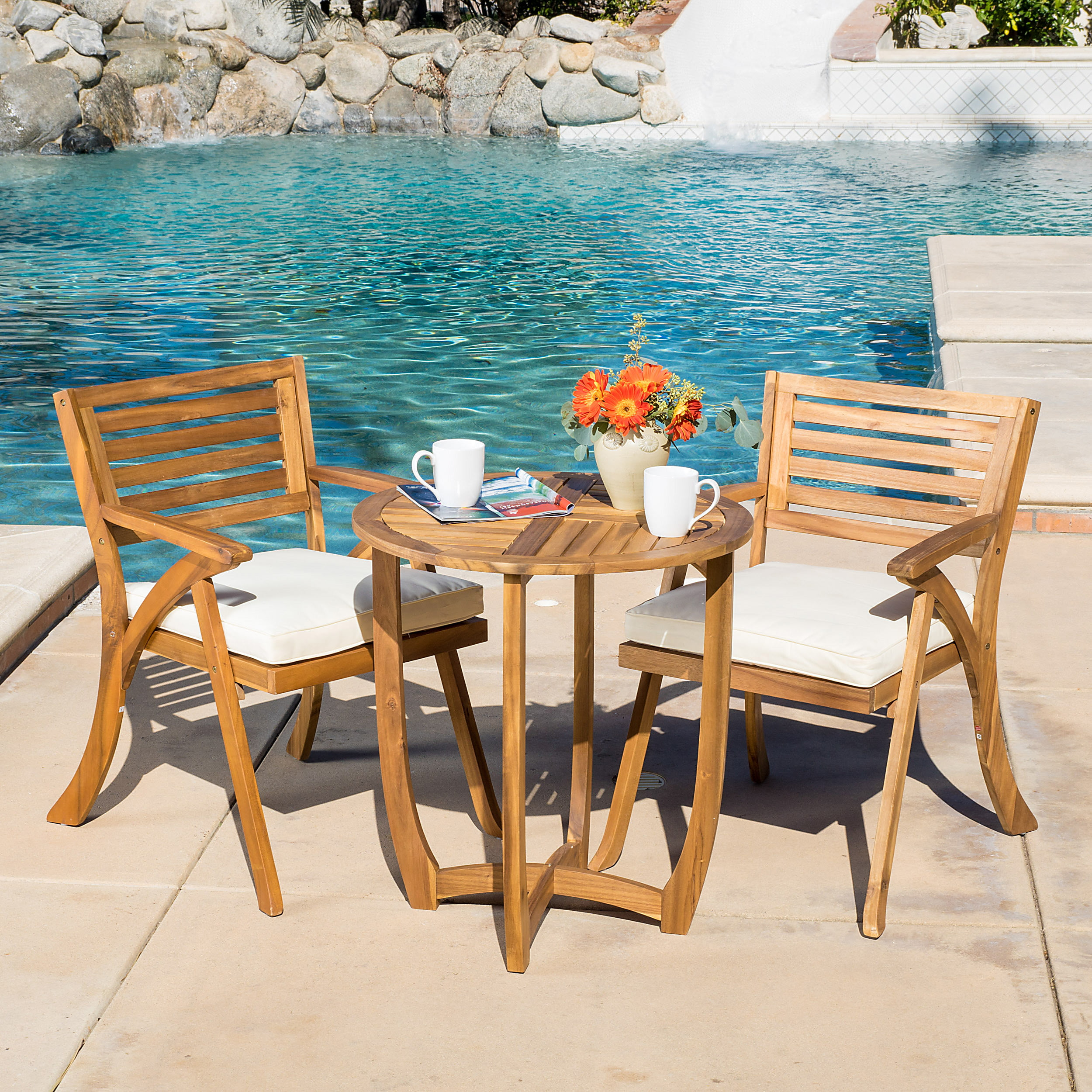 Esme Acacia Wood 3-Piece Outdoor Bistro Set with Cushions, Teak Finish by Noble House