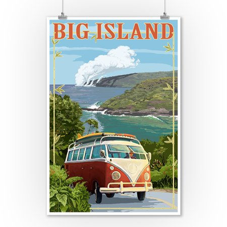 Hawaii   Big Island   Vw Van Cruise   Lantern Press Poster  9X12 Art Print  Wall Decor Travel Poster
