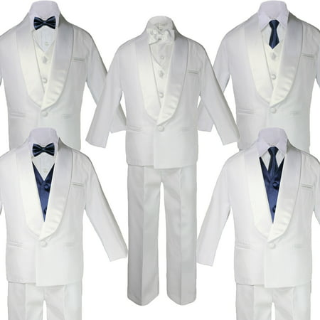 5-7pc Boy White Shawl Lapel Party Suits Tuxedo navy Satin Bow Necktie (Satin Shawl Vest)