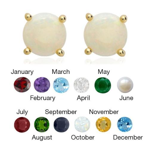 Dolce Giavonna 14k Gold Overlay Gemstone/ Pearl Earrings (7 mm) October / Opal
