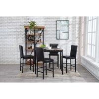 Boraam Arjen 5-Piece Counter Height Faux Marble Dining Set, Black
