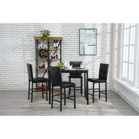 Faux Marble Counter - Boraam Arjen 5 pc counter height faux marble dining set, black