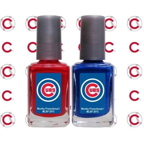 Chicago Cubs 2-Pack Nail Polish with Nail Decal - No Size