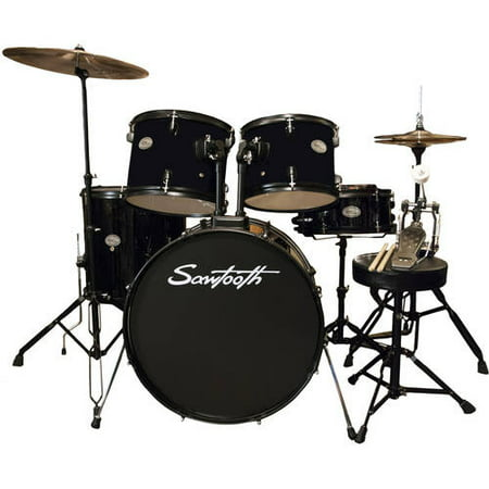 rise by sawtooth full size student drum set with hardware and cymbals pitch black. Black Bedroom Furniture Sets. Home Design Ideas