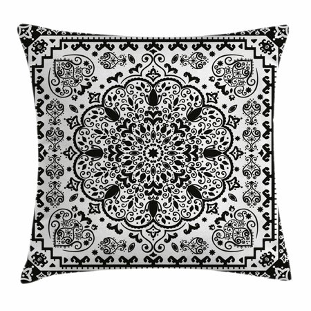 India Throw Pillow Cushion Cover, Ethnic Mandala Floral Lace Paisley Mehndi Design Tribal Lace Image Art Print, Decorative Square Accent Pillow Case, 20 X 20 Inches, Black and White, by