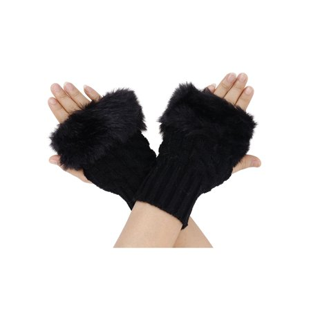 - Simplicity Soft & Fuzzy Faux Fur winter warm Crochet Fingerless Gloves/Mittens