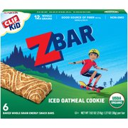 CLIF Kid Zbar Organic Granola Bars, Kids Snacks, Iced Oatmeal Cookie, 6 Ct, 1.27 oz