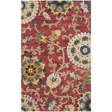 Safavieh Blossom 5' X 8' Hand Hooked Wool Rug in Red - image 4 de 8