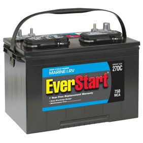 EverStart Lead Acid Marine & RV Deep Cycle Battery, Group Size 27DC (12 Volt/750 MCA)