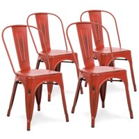 Best Choice Products Metal Industrial Distressed Bistro Chairs for Home, Dining Room, Cafe, Restaurant Set of 4, Red