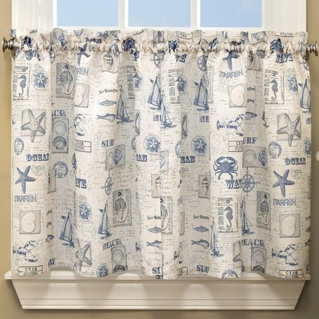 By The Sea Printed Ocean Beach Images Kitchen Curtains 36