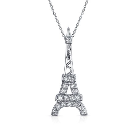Cubic Zirconia Pave CZ Dangling France Eiffel Tower Pendant Necklace For Women For Teen 925 Sterling Silver With (Sterling Silver Tower)