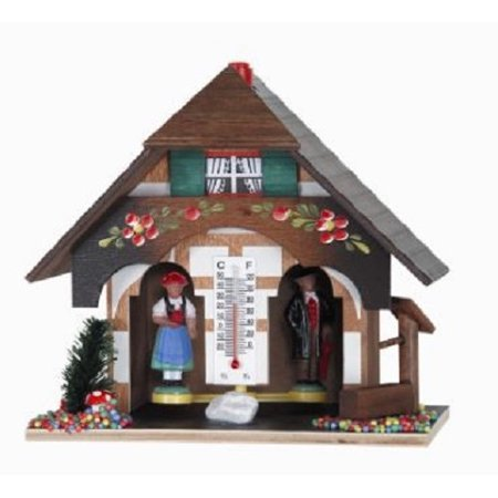 Pinnacle Peak Trading Co Weather House with Black Forest Couple and Hand Painted - Hand Painted Block
