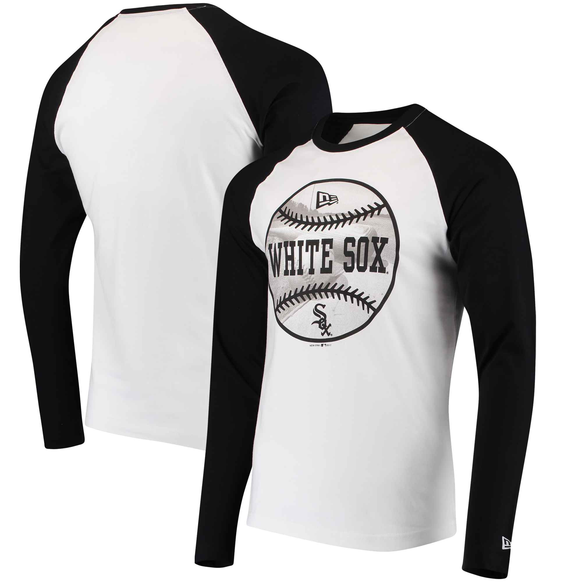Chicago White Sox New Era Raglan Long Sleeve T-Shirt - White/Black