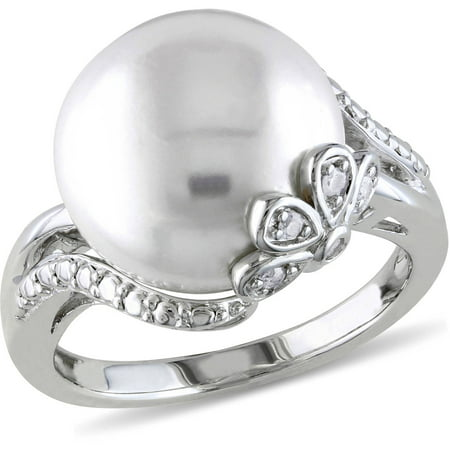 12-12.5mm White Cultured Freshwater Pearl and Diamond-Accent Sterling Silver Cocktail Ring